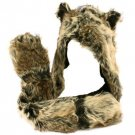 Adult Winter Faux Fake Animal Fur Scarf Trapper Hat w Paw Gloves Mittens Natural