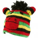 100% Wool Nepal Winter Crazy Monkey Animal Fleece Lined Beanie Ski Cap Hat Rasta