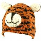 100% Wool Nepal Winter Cute Tiger w Ears Animal Fleece Lined Beanie Ski Cap Hat