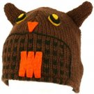 100% Wool Nepal Winter Cute Brown Owl Animal Fleece Lined Beanie Ski Cap Hat