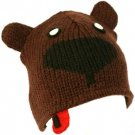 100% Wool Nepal Winter Bear with Tongue Animal Fleece Lined Beanie Ski Cap Hat