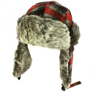 Men's Winter Faux Fur Plaid Check Thick Trooper Trapper Ski Aviator Cap Hat Red