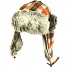 Men's Winter Faux Fur Plaid Check Thick Trooper Trapper Ski Aviator Hat Orange