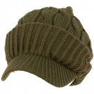 Winter Chunky Cable Knit Jeep Beanie Viisor Skull Newsboy Cabbly Hat Cap Gray