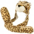 Winter Faux Fake Fuzzy Beige Tiger Animal Fur Scarf Trapper Hat w Pocket Gloves