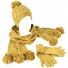 Winter 3pc Set Knit Pom pom w Gold Beanie Skull Ski Cap Hat w Scarf Gloves Camel