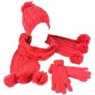 Winter 3pc Set Knit Pom pom w Gold Beanie Skull Ski Cap Hat Scarf Gloves Fuchsia