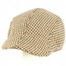 Men's Wool Blend Winter Duck Bill Ivy Cabby Driver Houndstooth Hat Cap Brown M/L