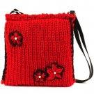 Winter 3 Flower Knit Handbag Shoulder Body Bag Red