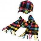 Kids Winter Plaid Castro GI Cadet Hat Cap Softer Cashmere Scarf? Set Rainbow Blk