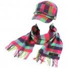 Kids Winter Plaid Castro GI Cadet Hat Cap Softer Cashmere Scarf? Set Rainbow Pk