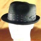 PP WATERPROOF 3 PLEAT STINGY FEDORA CRUSH HAT BLACK L/XL