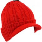 Winter 2ply Cable Knit Jeep Beanie Viisor Skull Newsboy Cabbie Ski Hat Cap Red