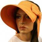 "Compact Summer Wide 5-1/2"" Brim Floppy Visor Roll Up Sun Topless Hat Cap Orange"
