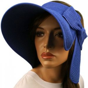 "Compact Summer Wide 5-1/2"" Brim Floppy Visor Roll Up Sun Topless Hat Cap Blue"
