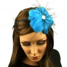 Fancy Feather Rhinestone Thin Headband Head Piece Fascinator Cocktail Turquoise