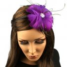 Fancy Feather Rhinestone Thin Headband Head Piece Fascinator Cocktail Purple