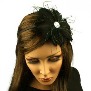 Fancy Feather Rhinestone Thin Headband Head Piece Fascinator Cocktail Black
