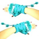 Winter Soft Fuzzy Furry Real Fur Trim Fingerless Half Cuff Off Gloves Turquoise