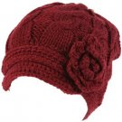 Hand Knit Winter Cable Crochet Flower Visor Beanie Skull Ski Snow Cap Hat Wine