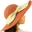 "Shapeable Wire Wide 5"" Brim Beach Summer Ribbon Bow Floppy Sun Hat Cap Rust Red"