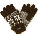 Men's Winter Snowflake Thinsulate Lined 3M 40gram Knit Snow Ski Gloves Brown M/L