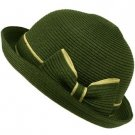 Ribbon Summer Curl Up Cloche Derby Bowler Bucket Sun Buckle Hat Cap 57cm Green