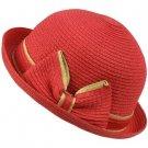 Ribbon Summer Curl Up Cloche Derby Bowler Bucket Sun Buckle Hat Cap 57cm Fuchsia