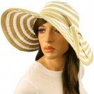 "50+ UPF Beach Summer Stripe Shapeable Wire Wide 5"" Brim Floppy Sun Hat Cap Khaki"