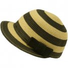 Striped Cap Visor Brim Ribbon Summer Bucket Short Back Sun Hat Black Natural