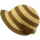 Striped Cap Visor Brim Ribbon Summer Bucket Short Back Sun Hat Brown Natural