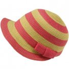 Striped Cap Visor Brim Ribbon Summer Bucket Short Back Sun Hat Pink Natural