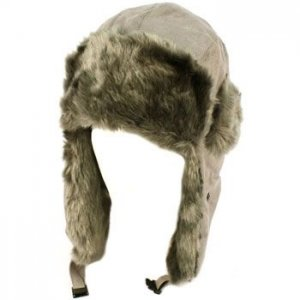 Winter Fake Fur Faux Suede Thick Trooper Trapper Ski Snow Aviator Cap Hat Gray