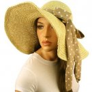 "Shapeable Wire Wide 6"" Brim Beach Summer Scarf Band Floppy Sun Hat Cap Natural"