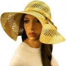 "Natural Fiber Beach Summer Ribbon Vented Wide 5"" Brim Floppy Sun Hat Cap Natural"