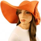 "50+ UPF Beach Summer Flip Up Down Velcro Wide 6"" Brim Floppy Sun Hat Cap Orange"