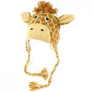 100% Wool Winter Cute Giraffe Animal Fleece Lined Trapper Earflaps Ski Cap Hat