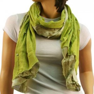 "Elegant Light Spring Tie Dye Beads Long Summer Sheer Scarf Shawl 72"" x 16"" Olive"