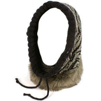 Faux Fur Hoodie Pullover Headscarf Knit Loop Neckwarmer Scarf Ski Hat Navy Gry