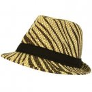 Summer Light Weight Zebra Animal Print Sun Fedora Trilby Stingy Hat Natural Brwn
