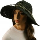Light Crushable Beach Summer Vented Wide 4-1/2&quot; Brim Floppy Sun Hat Cap Black