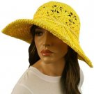 "Light Crushable Beach Summer Vented Wide 4-1/2"" Brim Floppy Sun Hat Cap Yellow"