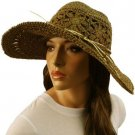 "Light Crushable Beach Summer Vented Wide 4-1/2"" Brim Floppy Sun Hat Cap Brown"