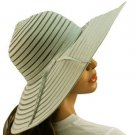 "Light Ribbon Bow Beach Summer Vented Mesh Wide 5"" Brim Floppy Sun Hat Cap Gray"