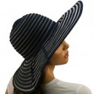 "Light Ribbon Bow Beach Summer Vented Mesh Wide 5"" Brim Floppy Sun Hat Cap Navy"