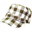 NEW COTTON BUFFALO PLAID CADET MILITARY CAP HAT BROWN