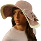 50+ UPF Ribbon Bow Beach Summer Braid Wide Brim Floppy Sun Hat Cap Pink 57cm