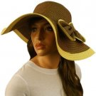 50+ UPF Ribbon Bow Beach Summer Braid Wide Brim Floppy Sun Hat Cap Brown 57cm