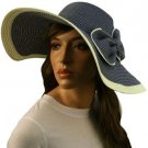 50+ UPF Ribbon Bow Beach Summer Braid Wide Brim Floppy Sun Hat Cap Blue 57cm