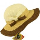Girls Kids Beach Ages 4-8 Summer Sun 3 Tone Floppy Bucket Wide Bim Hat Cap Brown